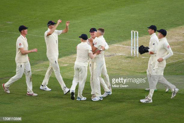 Brydon Carse of the England Lions celebrates after dismissing Kurtis Patterson of Australia A during the Four Day match between Australia A and the...
