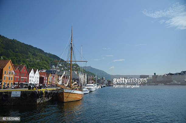 Bryggen in Bergen on a sunny afternoon