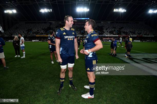 Bryn Evans and Michael Collins of the Highlanders talk to each other following the round eight Super Rugby Aotearoa match between the Highlanders and...