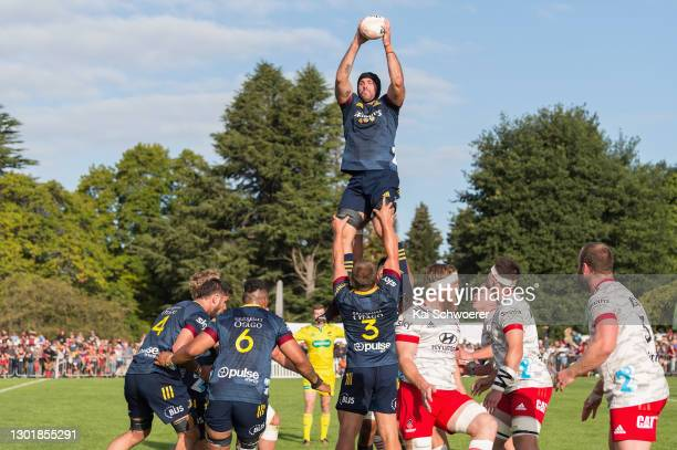 Bryn Evans of the Highlanders wins a lineout during the Farmlands Cup pre-season Super Rugby Aotearoa match between the Crusaders and the Highlanders...