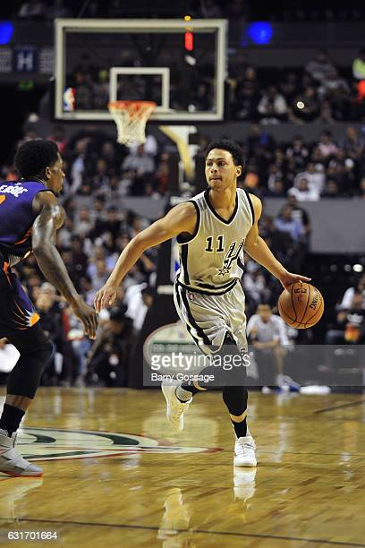 Bryn Forbes of the San Antonio Spurs dribbles the ball against the Phoenix Suns as part of NBA Global Games at Arena Ciudad de Mexico on January 14,...