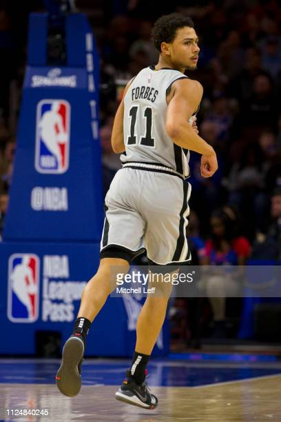 Bryn Forbes of the San Antonio Spurs looks on against the Philadelphia 76ers at the Wells Fargo Center on January 23 2019 in Philadelphia...