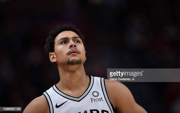 Bryn Forbes of the San Antonio Spurs looks on in the second half of a NBA game against the Utah Jazzat Vivint Smart Home Arena on February 09 2019 in...