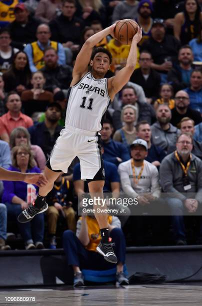 Bryn Forbes of the San Antonio Spurs looks to pass in the second half of a NBA game against the Utah Jazz at Vivint Smart Home Arena on February 09...