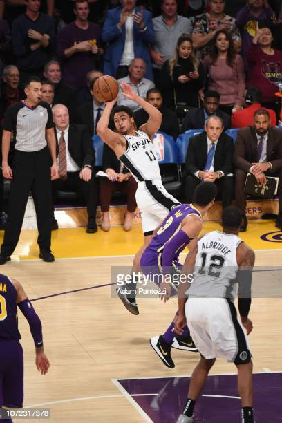 Bryn Forbes of the San Antonio Spurs looks to pass the ball against the Los Angeles Lakers on December 5 2018 at STAPLES Center in Los Angeles...