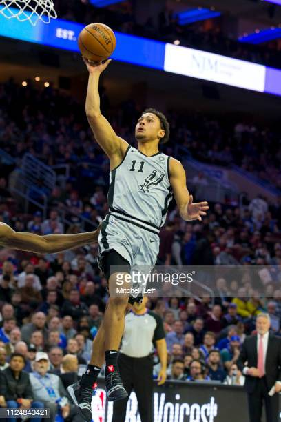 Bryn Forbes of the San Antonio Spurs shoots the ball against the Philadelphia 76ers at the Wells Fargo Center on January 23 2019 in Philadelphia...