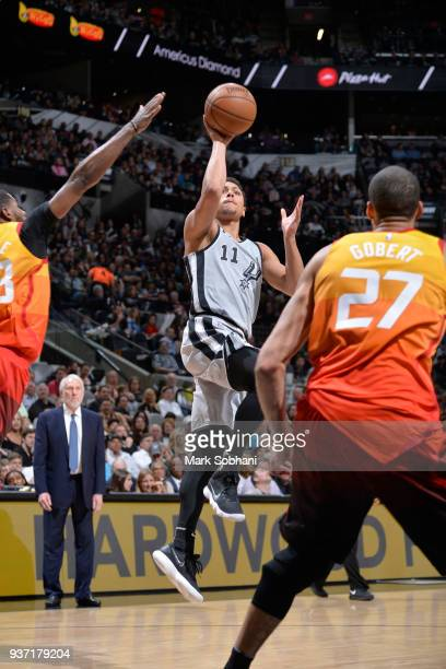 Bryn Forbes of the San Antonio Spurs shoots the ball against the Utah Jazz on March 23 2018 at the ATT Center in San Antonio Texas NOTE TO USER User...