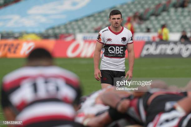 Bryn Gatland of Harbour watches a scrum during the Mitre 10 Cup Rd 9 North Harbour v Counties Manukau at North Harbour Stadium on November 07 2020 in...