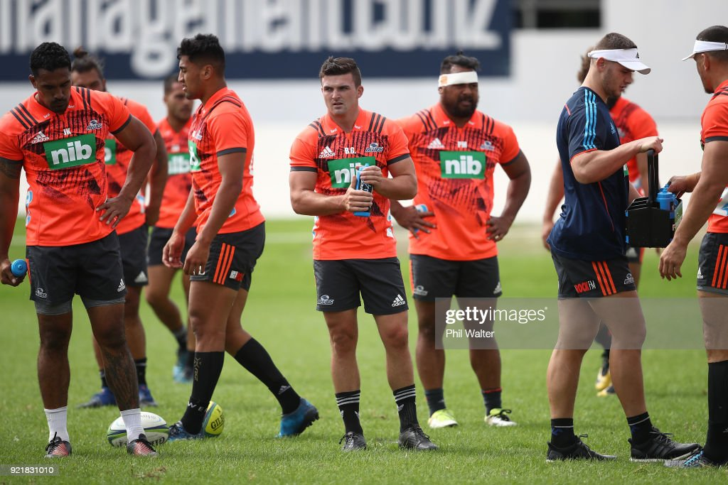 Bryn Gatland of the Blues during the Blues Super Rugby training session at Alexandra Park on February 21, 2018 in Auckland, New Zealand.