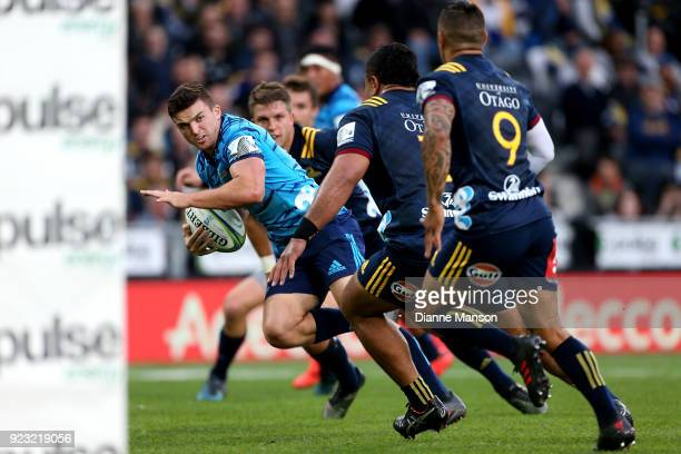 Bryn Gatland of the Blues makes a break during the round two Super Rugby match between the Highlanders and the Blues at Forsyth Barr Stadium on...