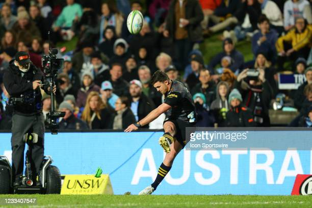 Bryn Gatland of the Chiefs converts from the side line during the round five Super Rugby Trans Tasman match between the NSW Waratahs and Chiefs at...