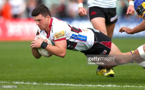 Bryn Gatland scores a try during the round five Mitre 10 Cup match between North Harbour and Bay of Plenty at QBE Stadium on September 16 2018 in...