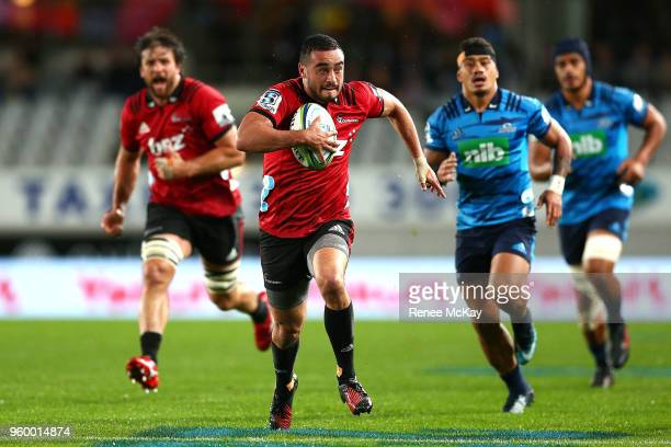 Bryn Hall in action for the Crusaders during the round 14 Super Rugby match between the Blues and the Crusaders at Eden Park on May 19 2018 in...