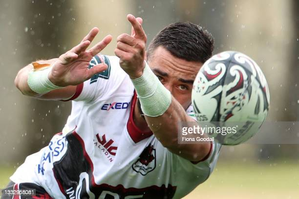 Bryn Hall of North Harbour clears the ball during the round 1 Bunnings NPC match between Waikato and North Harbour at North Harbour Stadium, on...