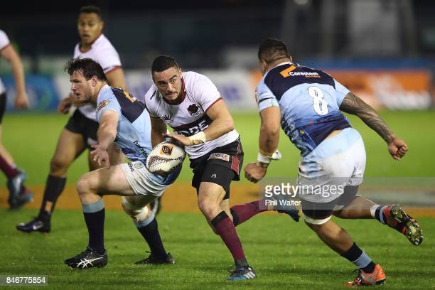 Bryn Hall of North Harbour fends during the round five Mitre 10 Cup match between Northland and North Harbour at Toll Stadium on September 14, 2017...