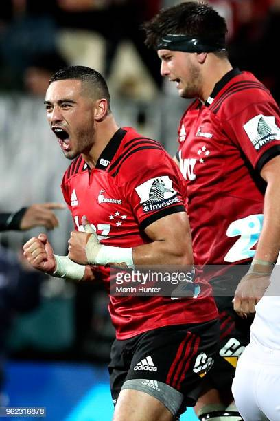 Bryn Hall of the Crusaders celebrates during the round 15 Super Rugby match between the Crusaders and the Hurricanes at AMI Stadium on May 25 2018 in...