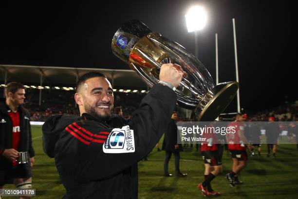 Bryn Hall of the Crusaders celebrates following the Super Rugby Final match between the Crusaders and the Lions at AMI Stadium on August 4, 2018 in...