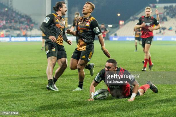 Bryn Hall of the Crusaders celebrates scoring a try during the Super Rugby Semi Final match between the Crusaders and the Chiefs at AMI Stadium on...