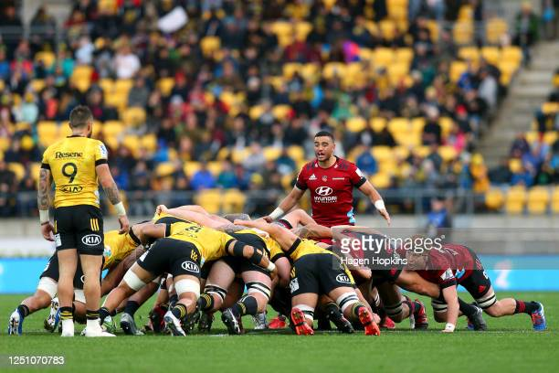 Bryn Hall of the Crusaders directs a scrum during the round 2 Super Rugby Aotearoa match between the Hurricanes and the Crusaders at Sky Stadium on...