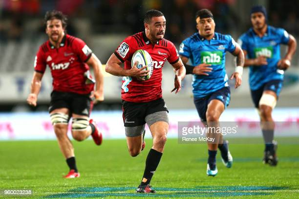 Bryn Hall of the Crusaders in action during the round 14 Super Rugby match between the Blues and the Crusaders at Eden Park on May 19 2018 in...