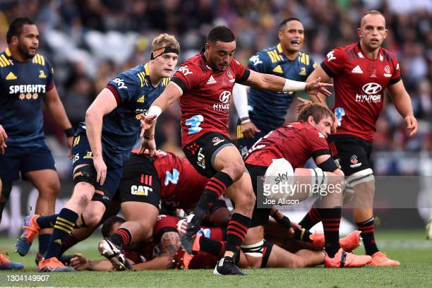 Bryn Hall of the Crusaders kicks the ball during the round one Super Rugby Aotearoa match between the Highlanders and the Crusaders at Forsyth Barr...