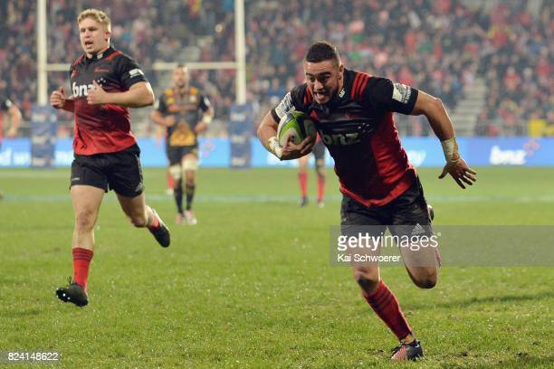 Bryn Hall of the Crusaders runs through to score a try during the Super Rugby Semi Final match between the Crusaders and the Chiefs at AMI Stadium on...