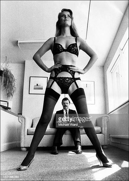 Bryn Harris Managing Director of lingerie company Berlie Ltd at work in his office 1982