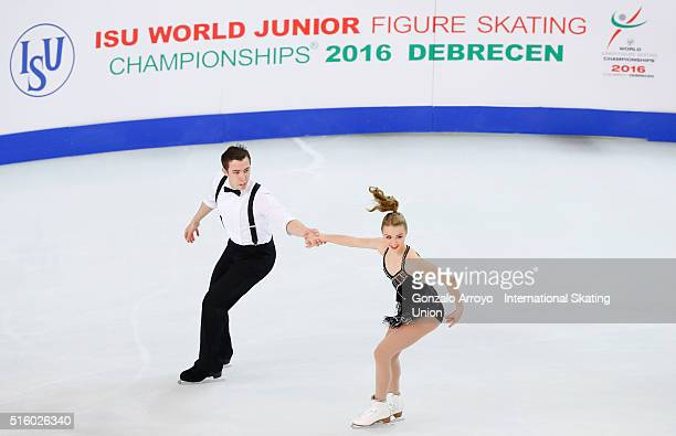Bryn Hoffman and Bryce Chudak from Canada skate during the pair's short program of the ISU World Junior Figure Skating Championships 2016 at The...