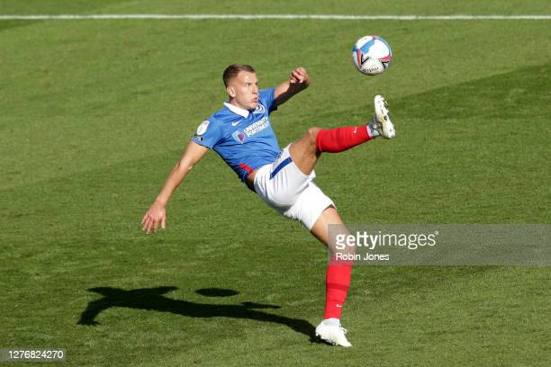 Bryn Morris of Portsmouth FC during the Sky Bet League One match between Portsmouth and Wigan Athletic at Fratton Park on September 26, 2020 in...