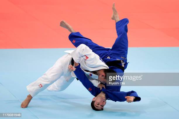 Bryn Quillotes of the Philippines and Joshua Katz of Australia competes in the Men's -60kg Pool C second round on day one of the World Judo...