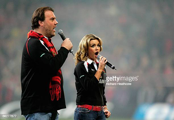 Bryn Terfel and Katherine Jenkins perform a Welsh anthem during the Invesco Perpetual Series Rugby International match between Wales and Australia at...