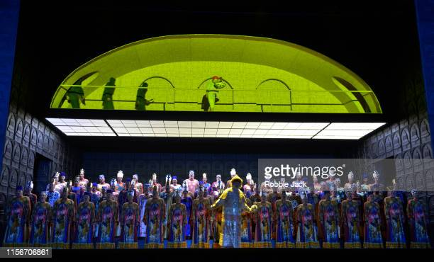 Bryn Terfel as Boris Godunov with artists of the company in The Royal Opera's production of Modest Musorgsky's Boris Godunov directed by Richard...