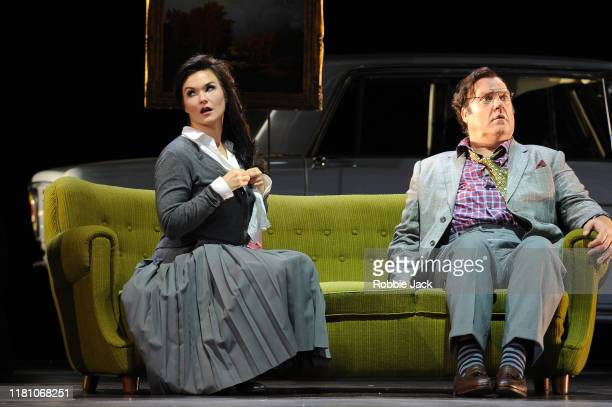 Bryn Terfel as Don Pasquale and Olga Peretyatko as Norina in Gaetano Donizetti's Don Pasquale directed by Damiano Michieletto and conducted by...