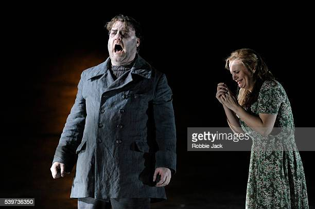 Bryn Terfel as The Dutchman and Anja Kampe as Senta in the Royal Opera's production of Richard Wagner's opera Der Fliegende Hollander, directed by...