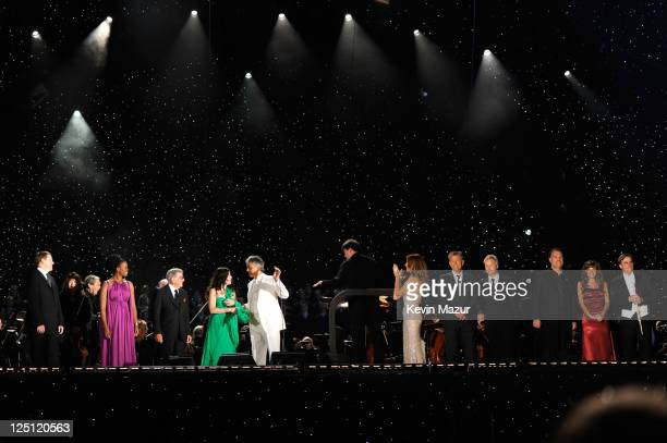 Bryn Terfel Pretty Yende Tony Bennett Ana Maria Martinez Andrea Bocelli Celine Dion David Foster Chris Botti on stage at the Central Park Great Lawn...