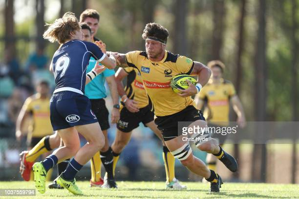 Brynard Stander of the Force is tackled during the round four NRC match between Queensland Country and Western Force at Bond University on September...