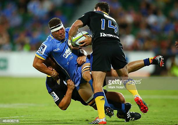 Brynard Stander of the Force is tackled during the round three Super Rugby match between the Western Force and the Hurricanes at nib Stadium on...