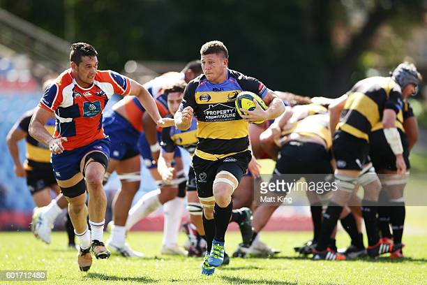 Brynard Stander of the Spirit makes a break during the round three NRC match between the Western Sydney Rams and the Perth Spirit at Concord Oval on...
