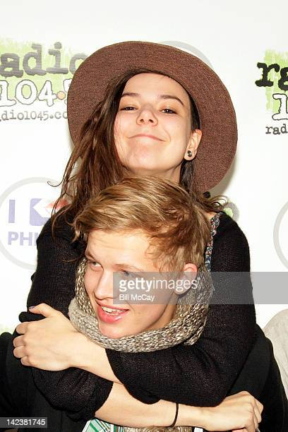 Brynjar Leifsson and Nanna Bryndis Hilmarsdottir from the band Of Monsters And Men pose at Radio Staion WRFF iHeartRadio Performance Theater April 3...