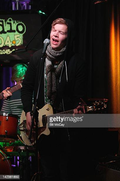 Brynjar Leifsson from the band Of Monsters And Men performs at Radio Staion WRFF iHeartRadio Performance Theater April 3 2012 in Bala Cynwyd...