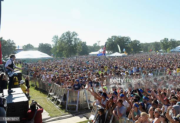 Brynjar Leifsson of Of Monsters And Men performs onstage at Which Stage during day 2 of the 2013 Bonnaroo Music Arts Festival on June 14 2013 in...