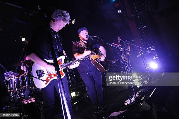 Brynjar Leifsson, Ragnar Porhallsson and Nanna Bryndis Hilmarsdottir perform at the Of Monsters and Men benefit concert for MusiCares at the El Rey...