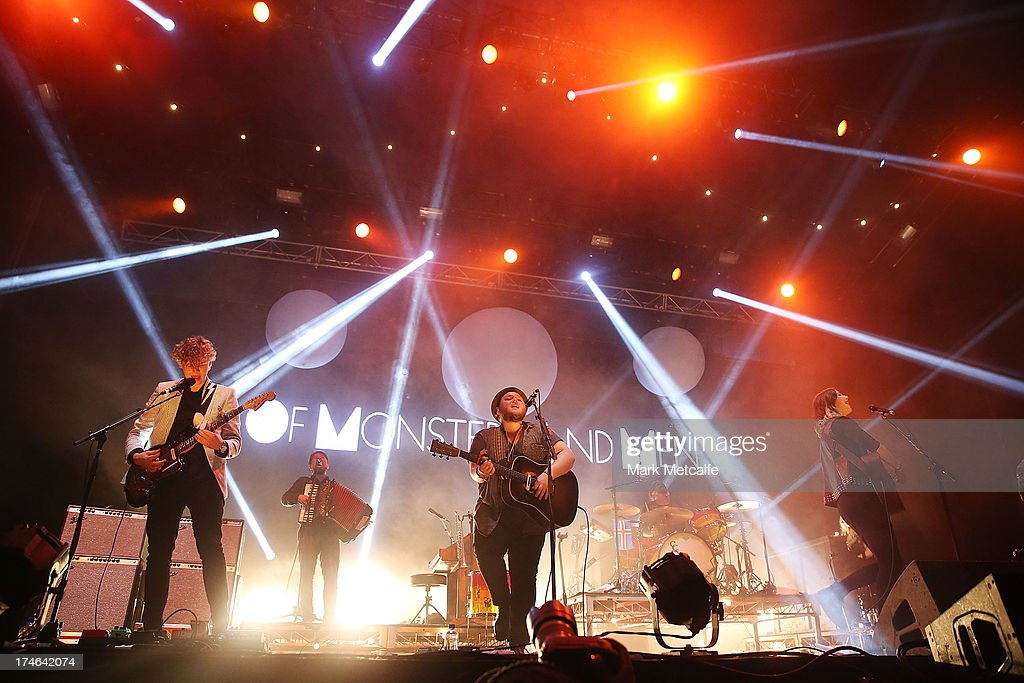 Brynjar Leifsson, Ragnar Thorhallsson and Nanna Bryndis Hilmarsdottir of the band Of Monsters and Men perform for fans on day 3 of the 2013 Splendour In The Grass Festival on July 28, 2013 in Byron Bay, Australia.