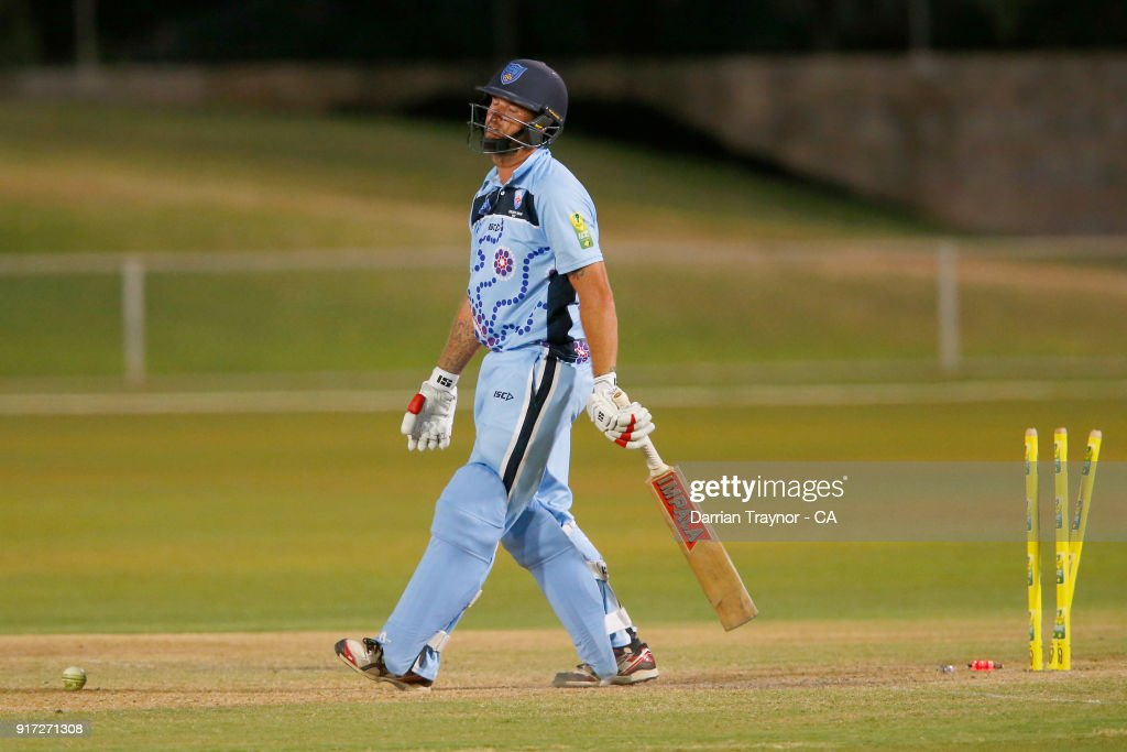 Brynley Richards of N.S.W. is bowled by Nick Boland of Victoria in the mens final against Victoria during the 2018 Cricket Australia Indigenous Championships on February 12, 2018 in Alice Springs, Australia.