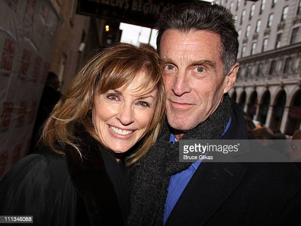 Brynn Thayer and John Glover pose at The Opening Night of Bengal Tiger at the Baghdad Zoo on Broadway at Richard Rodgers Theatre on March 31 2011 in...