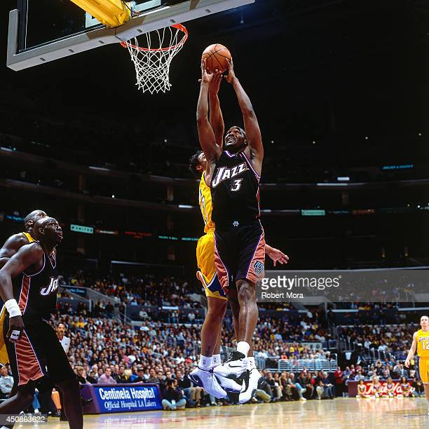 Bryon Russell of the Utah Jazz grabs a rebound against the Los Angeles Lakers on January 3 2001 at Staples Center in Los Angeles CA NOTE TO USER User...