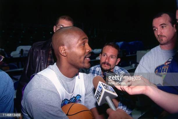 Bryon Russell of the Utah Jazz speaks to the media during media availability as part of the 1998 NBA Finals at the Delta Center in Salt Lake City...