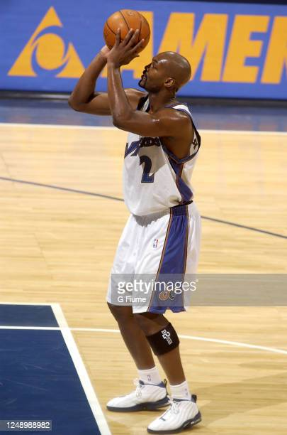 Bryon Russell of the Washington Wizards shoots a free throw against the Los Angeles Clippers on March 5 2003 at the MCI Center in Washington DC NOTE...
