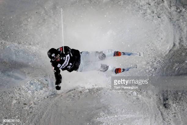 Bryon Wilson of the United States crashes in the Men's Moguls Finals during the 2018 FIS Freestyle Ski World Cup at Deer Valley Resort on January 10...