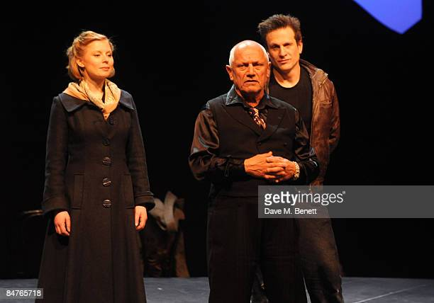 Bryony Afferson Steven Berkoff and Simon Merrells pose on stage during the press night of 'On The Waterfront' at The Theatre Royal Haymarket on...